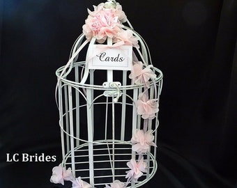 Pink Vintage Wedding Card Box, Wedding Card Holder, Baby Shower Card Box, Birdcage Card Holder, Wedding Decor, Birdcage, Baby Shower, Pink