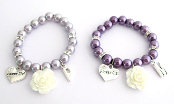 Personalized Flower Girl Bracelet,White Flower Bracelet,Lavender Pearls Kids Bracelet,Purple Pearls & Rhinestone Bracelet, Free Shipping USA