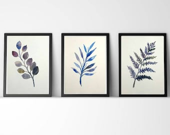 trio of Herbarium watercolor handmade 7.5 x 11 inches each