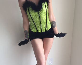 vintage burlesque costume dance outfit las vegas showgirl gatsby girl stage steampunk lime green