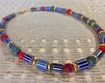 Murano Chevron and Glass Necklace // Trade Beads // Vintage Venetian Glass // Blue, White, Red, Gold Accessory // FREE SHIPPING
