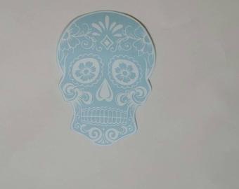 Sugar Skull Car Decal, Skull Sticker, Day of the Dead Skull, Dia De Los Muertos, Skulls Bumper Sticker