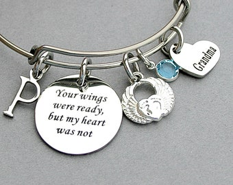 Your Wings Were Ready But My Heart Was Not Memorial Bangle, Personalize, Angel Wing Heart, loss of Grandchild, Bereavement Charm Bangle