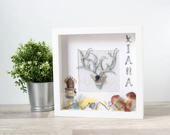 Deer frame sign: Christmas wall decorations, Holiday Signs, Personalized Christmas sign, Reindeer wall decor, Wooden Christmas decoration