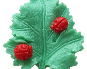 Leaf with Ladybugs Handcrafted Novelty Soap Bar by Just Bath And Body Stuff / JBABS