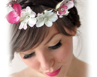 Crown flower wedding fuchsia and white Orchid Fascinator bridesmaid witness