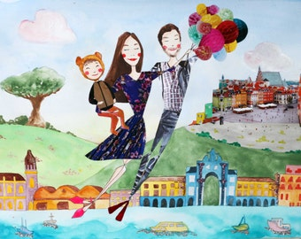 Bespoke Street Scene of Your Travels - Custom Portrait - Mixed-Media Original Illustration - Horizontal