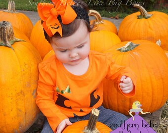 Jack O Lantern Bow, Embroidered Jack-O-Lantern Hair Bow, Orange and Black Bow for Halloween, Halloween Bow, Orange Bow