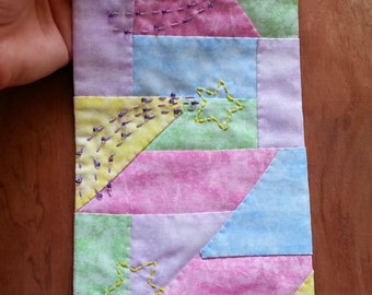 Handsewn mini quilt, wall hanging small, collage fabric art, fabric art, baby gift, mixed media, small quilt embroidery, bead embellished 02