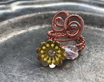 Yellow Flower Wire Wrapped Copper Ring