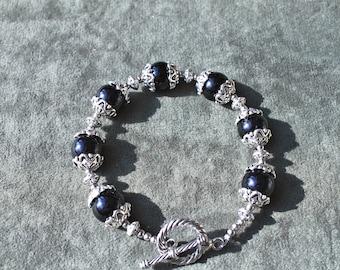 Handmade Black Onyx / Silver Beaded Bracelet
