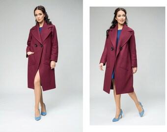 Coat with big collar, fuchsia coat Christmas gift for her, fashionable winter coats, winter dress coat, long winter coat, business coat