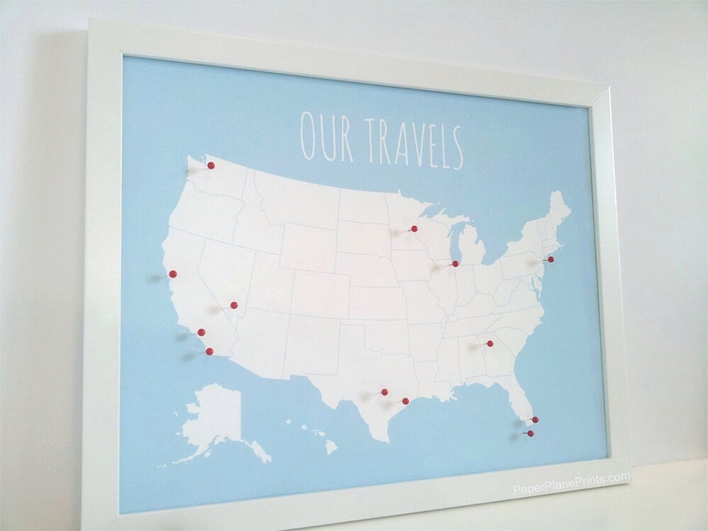Us map with pins mothers day gift united states push zoom gumiabroncs Choice Image