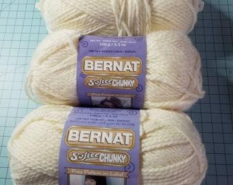 Bernat Softee Chunky yarn in Natural 3 skeins