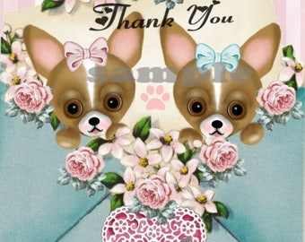 "Chihuahua  ""Thank you""  dog notecards, clip art, graphic, original drawing,  digtial, download, printable"