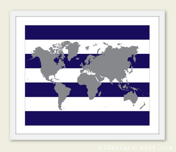 World map art print world map poster nursery map wall art like this item gumiabroncs Image collections