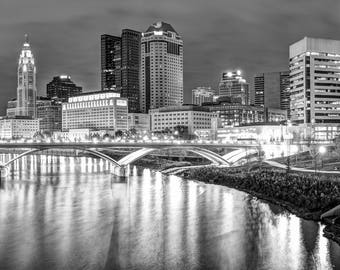 Columbus Skyline, Columbus Black and White, Downtown Columbus, Cityscape Photography, Gregory Ballos Fine Art