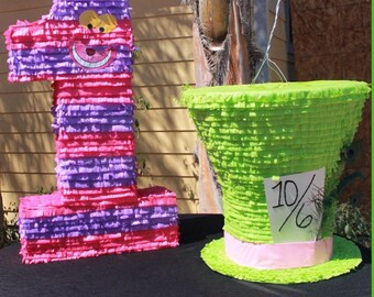 Alice in Wonderland Themed Piñata, Cheshire Cat Number Piñata