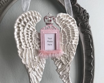 My Precious Angel hand sculpted Angel Wings with pink photo frame and crown