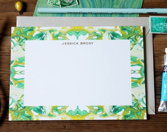 Custom Stationery / Flat Notes / Tiled Marble Pattern Chartreuse and Green - Set (10) / A7 Size