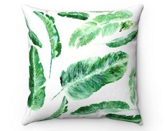Banana Leaf Pillow, tropical leaf pillow, palm leaf pillow, green throw pillow, leaf throw pillow, leaf throw pillows