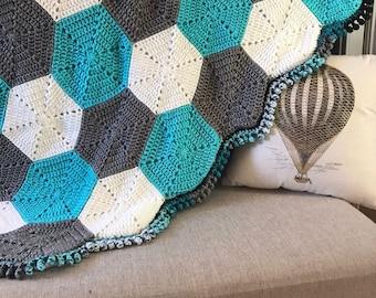 CROCHET PATTERN: Hexagon Baby Blanket | crochet baby blanket, pattern, digital download, handmade, weighted blanket pattern, baby gift