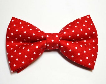 Red bow tie with White Polka Dot Bow Tie,babys bow tie,boys bow tie,adult bow tie, red bow tie,red dot bow tie,boys bow tie, valentines day