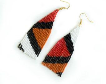 Mismatched Earrings, dangle beaded earrings, Seed Bead Earrings, Orange geometric earrings, Red beaded earrings, Handmade woven earrings