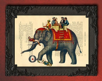 Circus Print, circus elephant art print | Elephant home decor dictionary print | book page print | recycled upcycled, drawing illustration