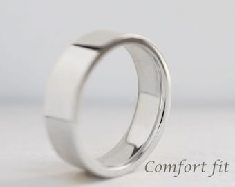 6mm or 7mm Comfort Fit Band| Men's White Gold Wedding Band | Flat Comfort Fit Recycled Gold | Heavy Wedding Band 10k 14k 18k Gold Ring