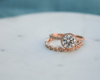 Halo Engagement Ring, Round Moissanite Diamond,Engagement Ring, Moissanite Wedding Diamond, Rose Gold, Diamond