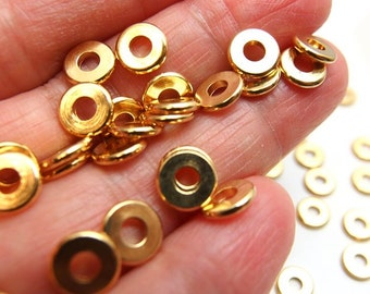bulk -15% / W112GD / 300Pc / Diameter 7 mm - Gold Plated Machined-Cut Washer / Spacer Beads