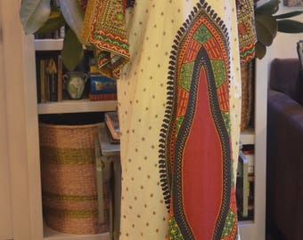 Vintage 1970s African dashiki made for Veronica's Resort Wear caftan kaftan maxi dress S / M small medium ethnic