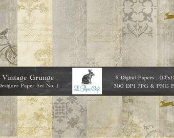 "Vintage Grunge Background Patterns No 1 - Photography Backgrounds - Scrapbook Paper - (12 ""x 12"" 300dpi) Instant Download - 6 JPG Files"