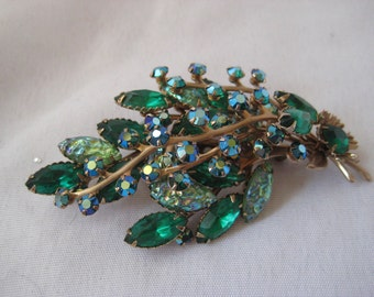 Extra large green rhinestone brooch, vintage costume jewelry, 50s brooch, mid century, leaf shape brooch