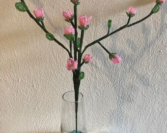 French Beaded Plum Blossoms - artificial flower - pink flower