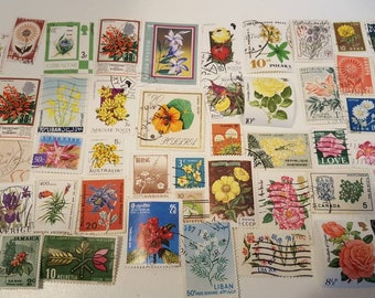 Flower Used Off Paper Worldwide Postage Stamps, Vintage Paper Ephemera Stamps, Philatelic, 50 Used Stamps