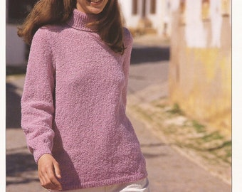 PDF Instant Download Knitting Pattern *Lady's DK Polo Neck Sweater* Hayfield 4475