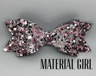 Material Girl Glitter Hair Bow (Pink, Silver, Black)