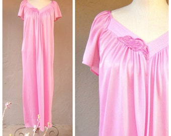 Bubble Gum Pink night gown / LONG girly nightie, bell sleeves / satiny nylon, small-med