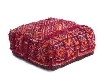 Moroccan Pouf, Floor Cushion, Berber Kilim Pouf Ottoman, Floor Pillow, Foot Stool, Refashioned from a Vintage Berber Rug. PVR044