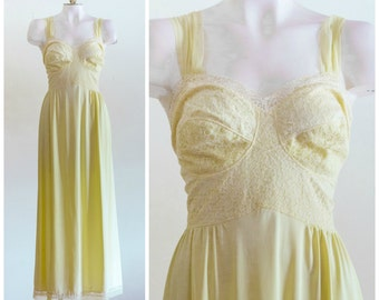 1960s long yellow negligee with lace bodice