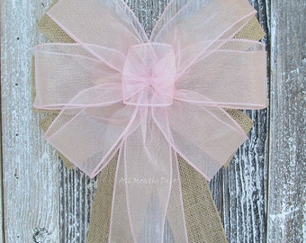 Sheer Burlap Wedding Bow | Many Colors | Ceremony Party Decoration | Bridal Chair Church Pew | Boy Girl Baby Shower | Gender Reveal