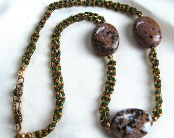 Necklace of Braided Multicolored Seed Beads with Three Ocean Jasper Oval Focals Beads