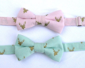 Boys Easter Bow Tie, Toddler Formal Wear, Page Boy Outfit, Deer Bow Tie, Boys Bow Tie, Ring Bearer, Gold Deer Bowtie, Mint Green Bowtie