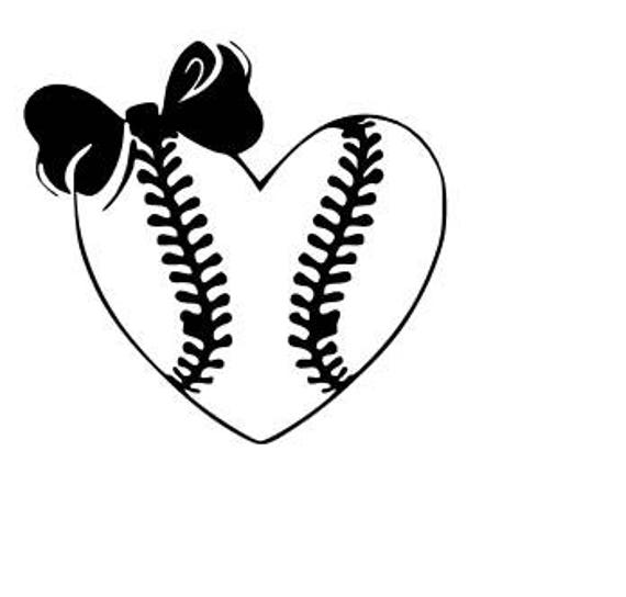 Softball Heart With Bow SVG Cutting File