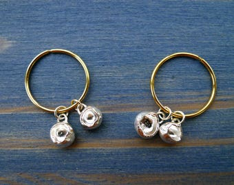 Nugget Dangles. Pair of 14K Gold Hoop Endless Earrings Size 1.75 cm Diameter With 2 Silver Nugget Dangle From Each. Organic Recycled Jewelry