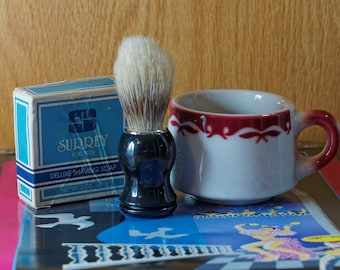NOS Surrey Shaving Soap in Original Box with Jackson Shave Mug and Unknown Boar Bristle Brush
