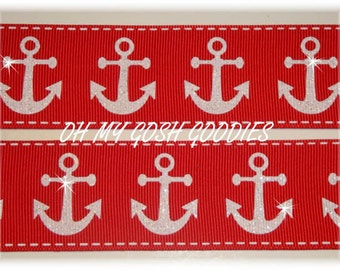 "GLITTER  ANCHORS RED Grosgrain Ribbon 7/8"" & 1.5"" - 5 Yards - Oh My Gosh Goodies Ribbon"