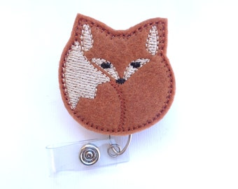 Nurse badge holder retractable - Snuggly Fox - cinnamon reddish brown felt - fox badge reel - nurse badge reel medical badge reel